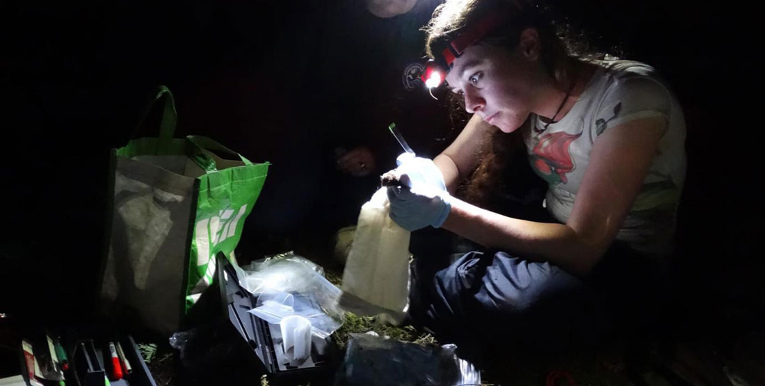 A woman researcher with her tools in the field at night