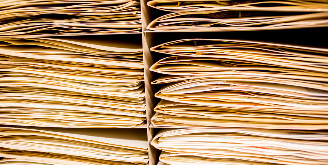 herbarium sheets of paper stacked into folders in the collection