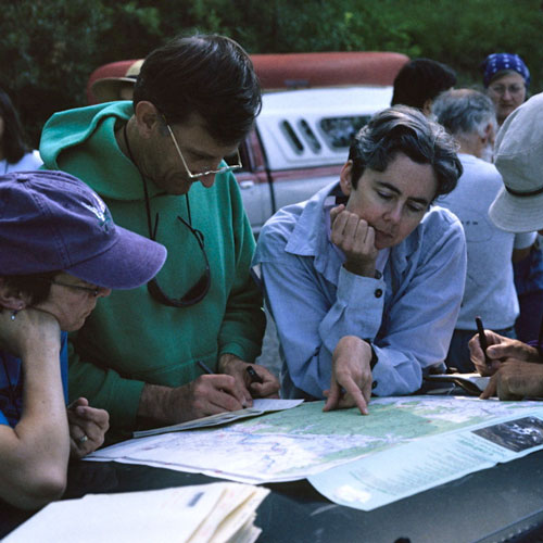 a group of four people plan their day with a map
