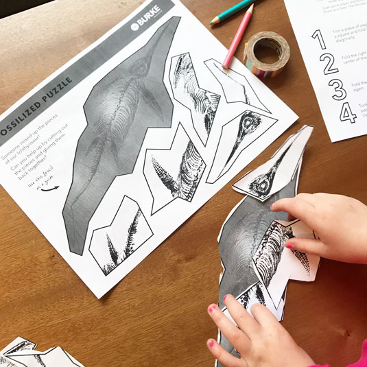 child puts together a paper puzzle of an ichthyosaur