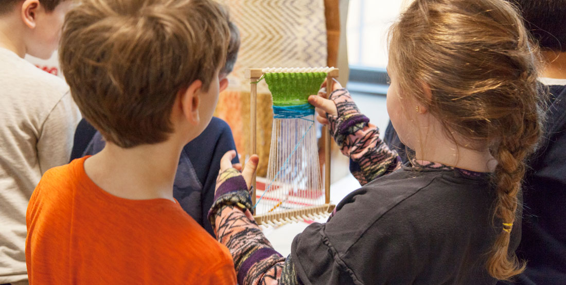 kids learn about weaving