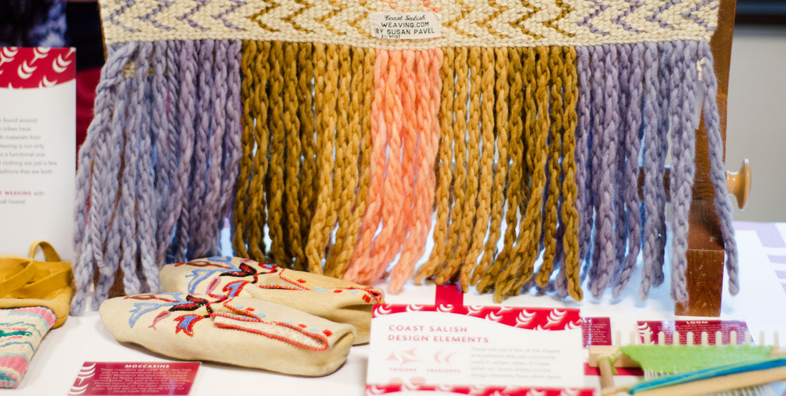weaving sample and moccasins