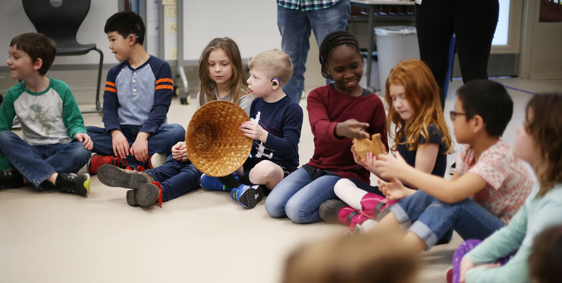 students interact during Storytellers program