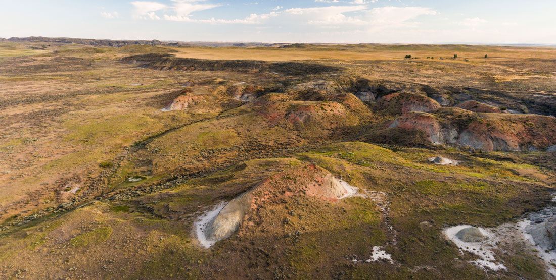 aerial view of hell creek montana landscape