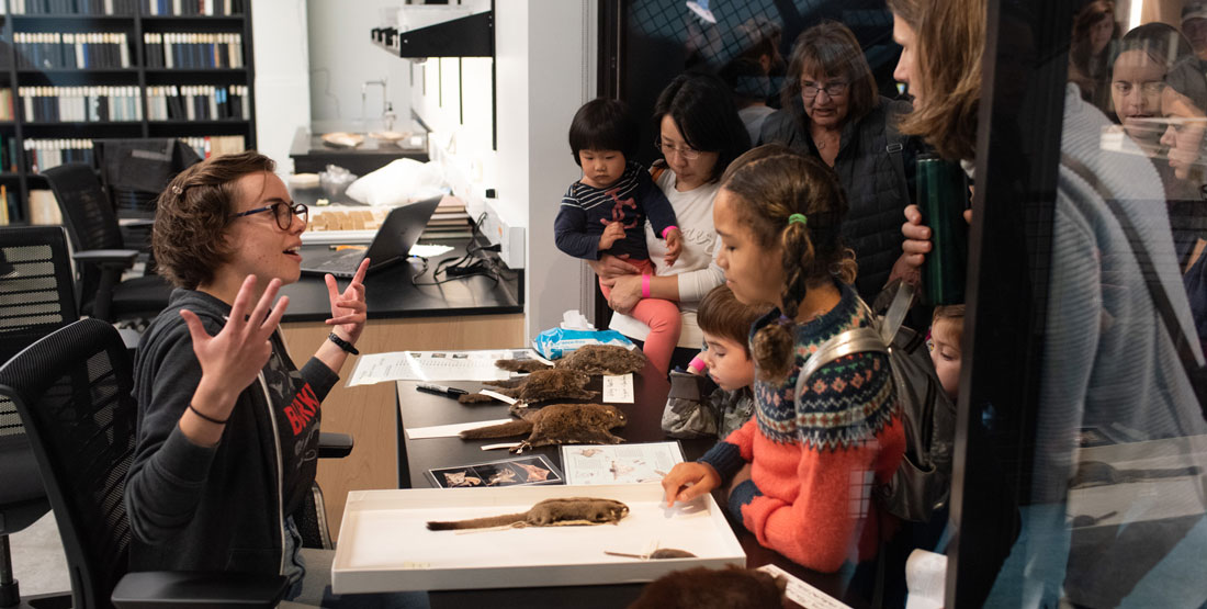 a staff member talks to visitors through an open door with a table of squirrel specimens between then
