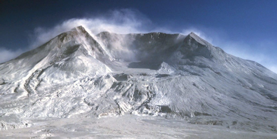 A photo of Mt St Helens with the cone caved in