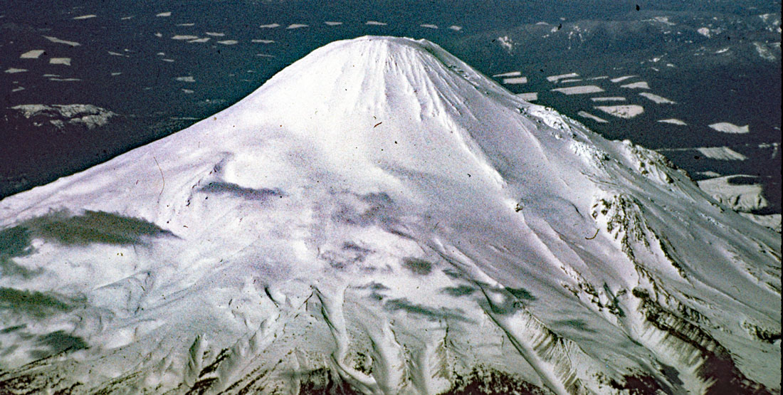 A photo of Mt St Helens covered in snow, 1977
