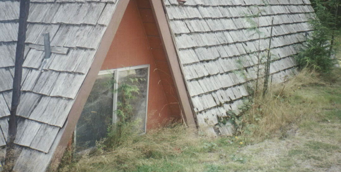 An A-frame cabin covered up to the top windows in ash and grass