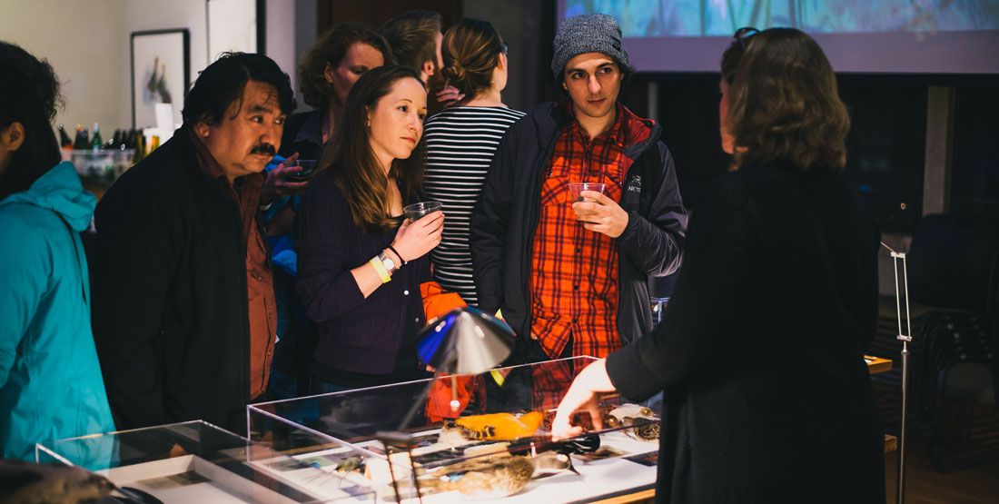 visitors look at specimens