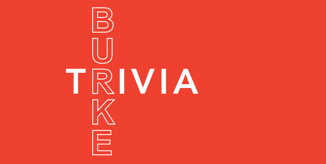 burke trivia in white text on bright red background
