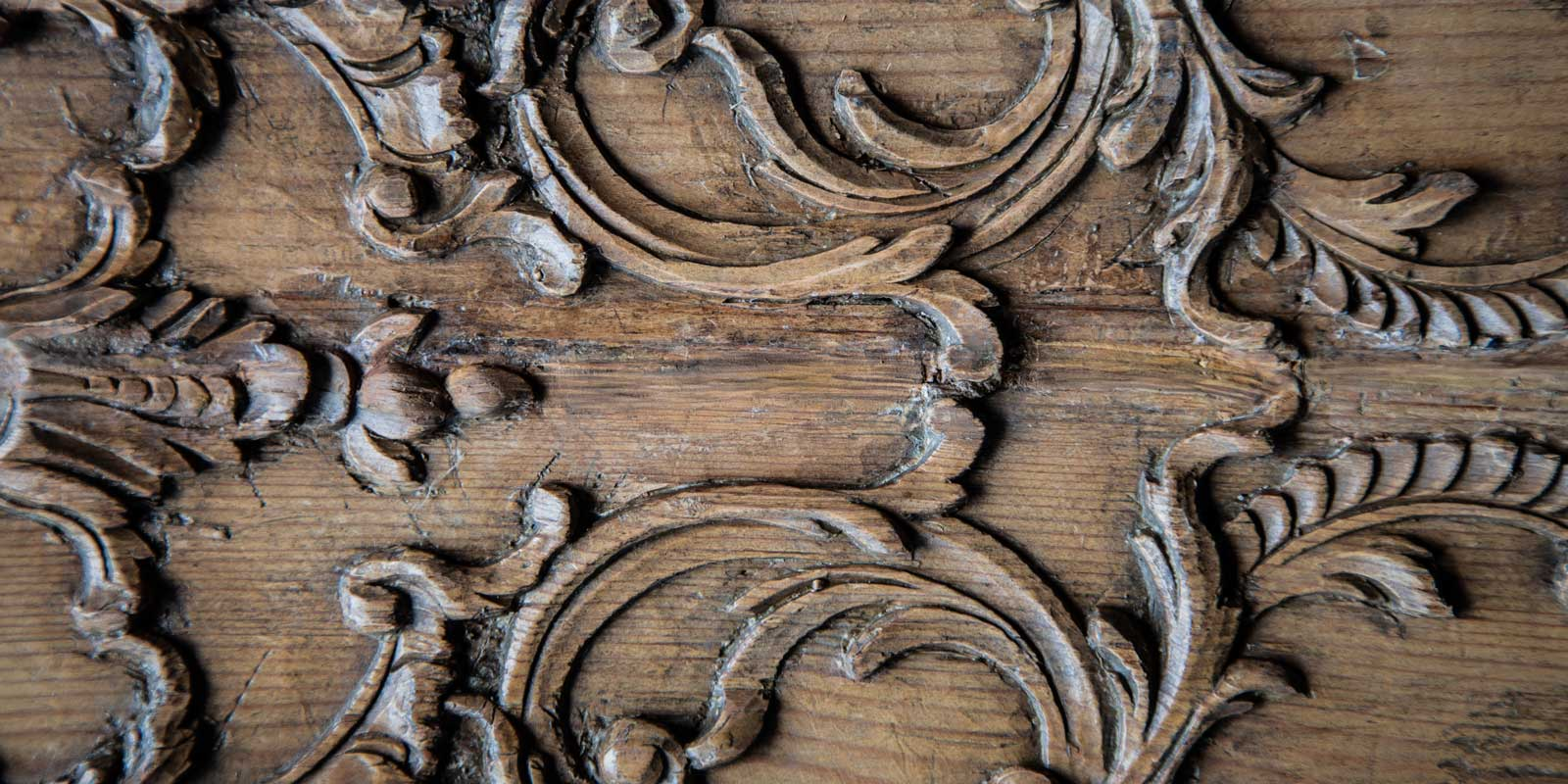 Close up of the carved detail on the Boiserie panels