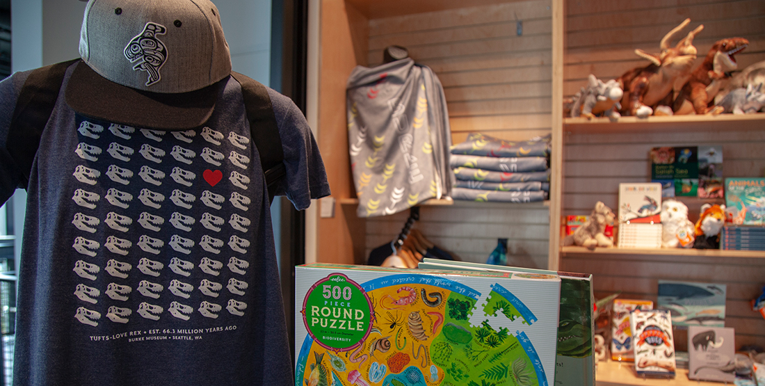 A T-shirt with T.rexes, stuffed animals, and a puzzle