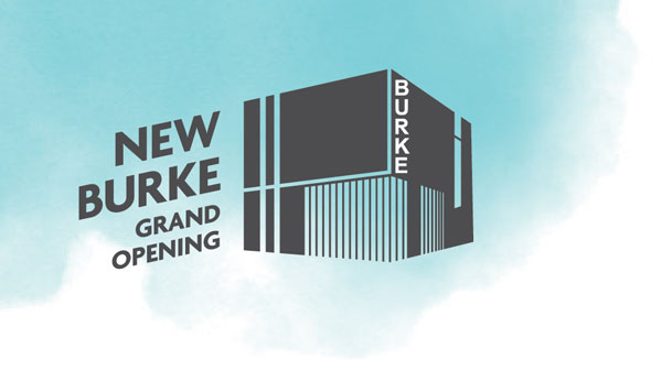 "graphic saying ""new burke grand opening"" with blue watercolor background behind it"