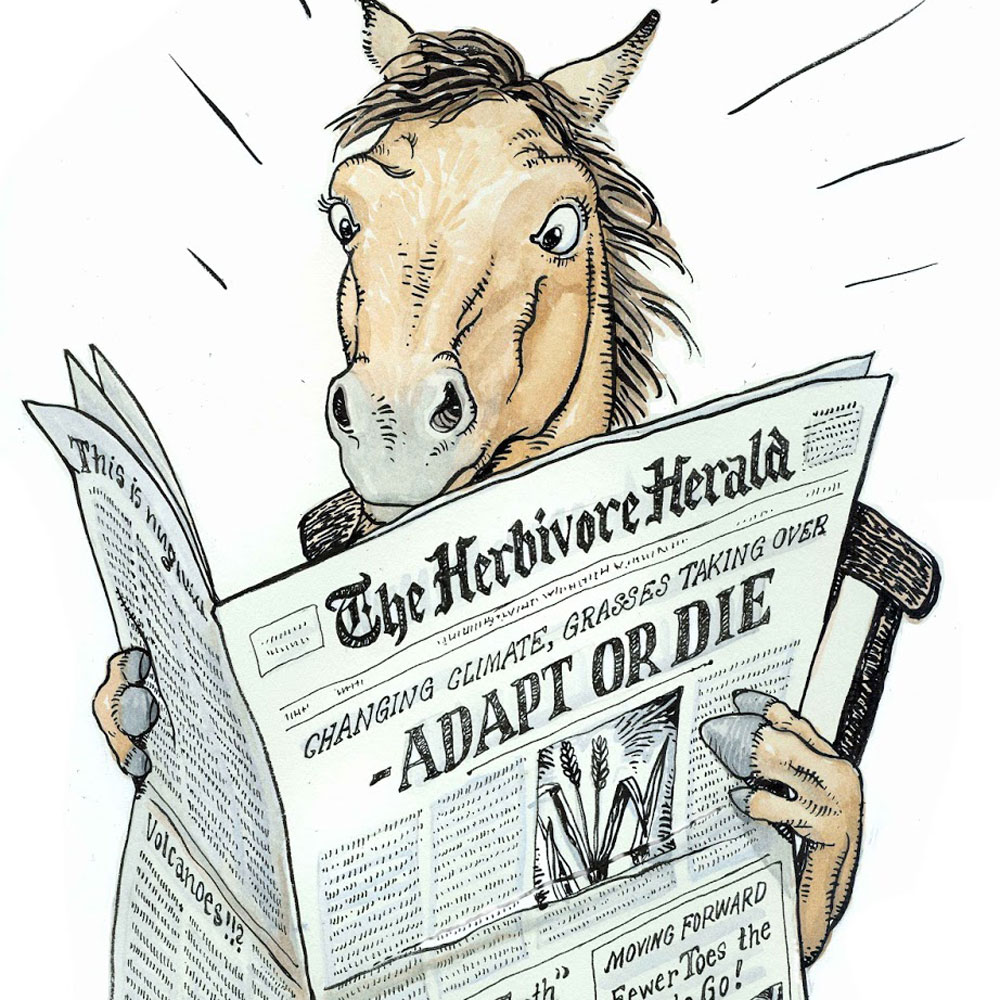 A cartoon sketch of a horse holding a newspaper that says Adapt or Die