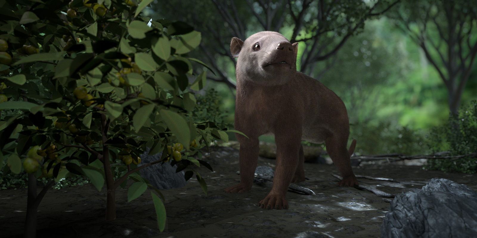 Lifelike illustration of a small prehistoric mammal