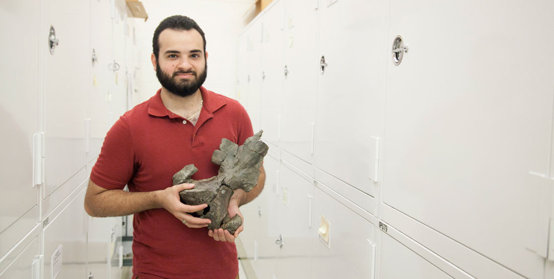 a young man stands within a row in the paleontology collections room and holds a fossil whale skull