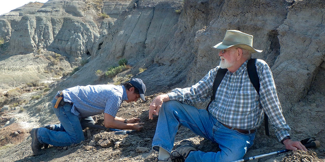 two men look at fossils in rocks