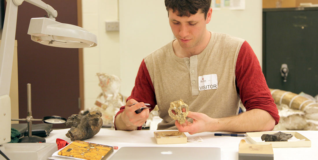 a young man holds a skull while taking measurements of the fossils