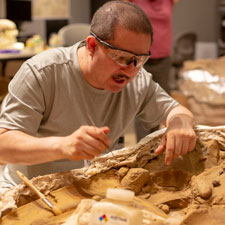 a man uses a small paintbrush to brush away dirt from a dinosaur fossil