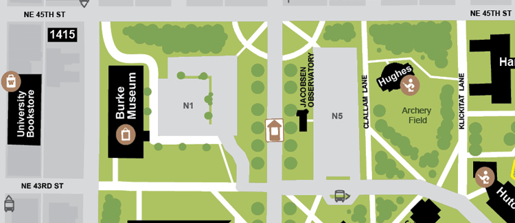 aerial map showing burke museum and surrounding N1 lot