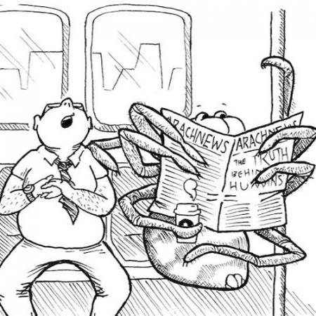 a comic showing a spider sitting on a subway train holding a newspaper with a man sleeping next to him