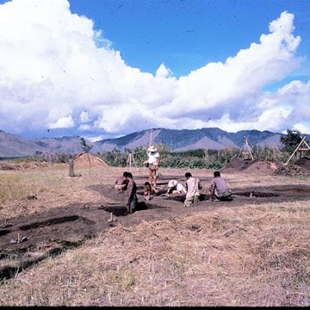 A photo from 1966 of the NFB archaeological site in the Eastern Highlands of Papua New Guinea.