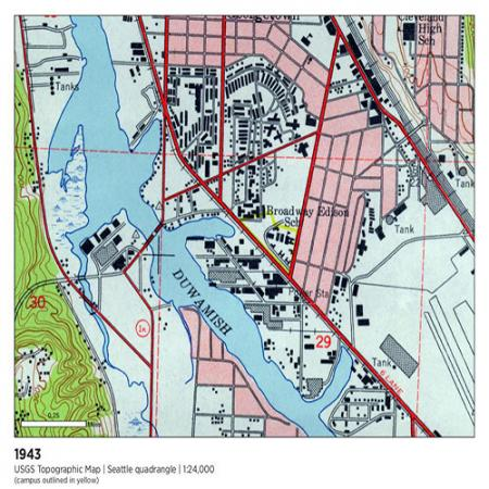 1943 survey showing duwamish river no longer meandering but running straight