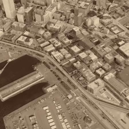 google aerial view of pioneer square in 2012