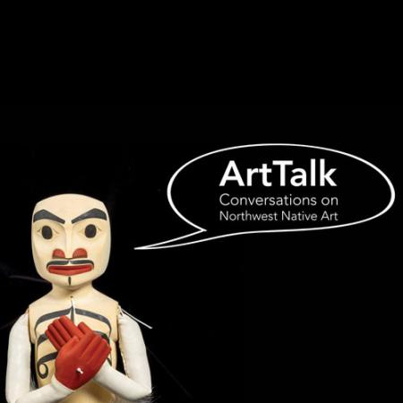 "puppet with words ""ArtTalk"" in word bubble"
