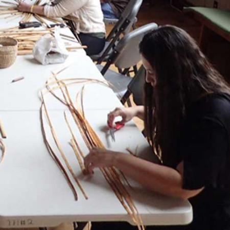 Artists and researchers gather together for the basketry workshop