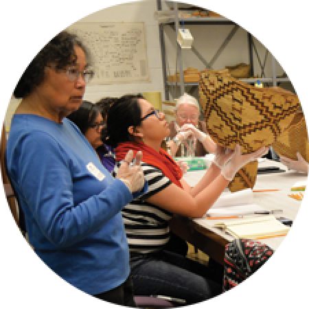 a group looks at baskets in the burke collection