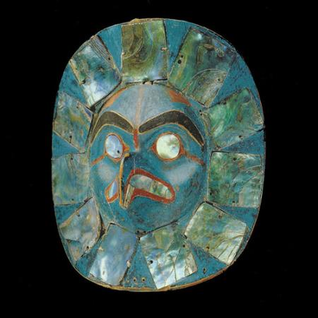 A Native frontlet photographed in the Seattle Art Museum collection