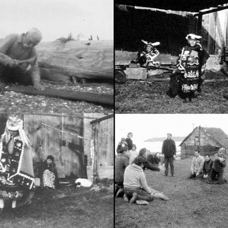 a series of four screenshots from a black and white film recording