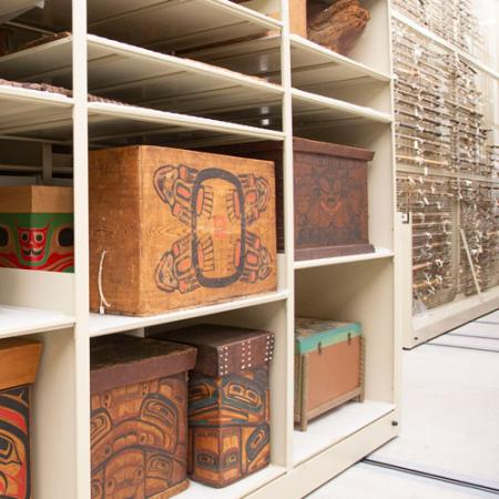 bentwood boxes on shelves in the collection space