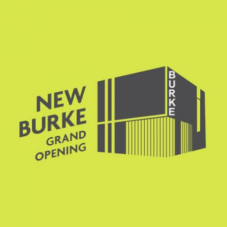 "graphic with words ""new burke grand opening"" and illustration of new building"