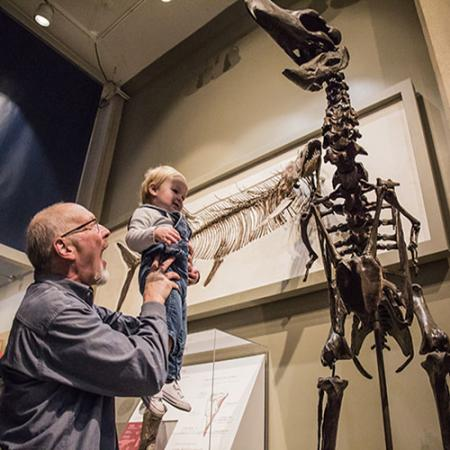A grandfather holds up his grandson to see the terror bird up close