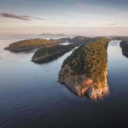 aerial view of Sucia Island in Washington state