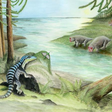 illustration showing the newly-discovered species hunting along a river
