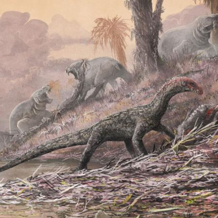 artistic illustration showing early dinosaur relatives