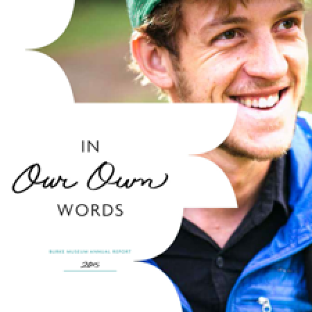 "2015 annual report cover with title ""In Our Own Words"""