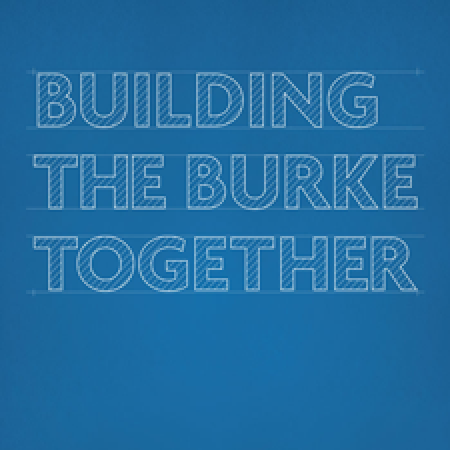 "2016 annual report cover with title ""Building the Burke Together"""