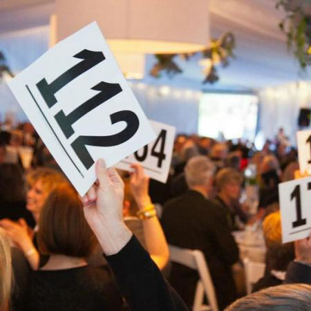 "a person's hand holding a card in the air with their number during a ""raise the paddle"" fundraiser"