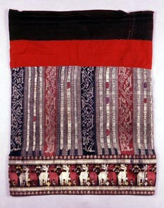 Red Tai Woman's Skirt Cotton, Silk, Weft Ikat, Supplementary Weft